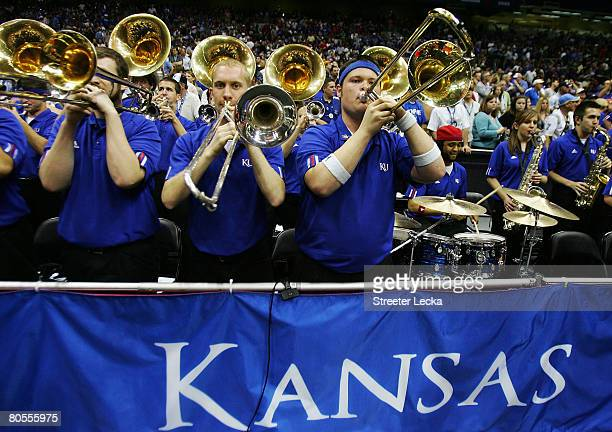 The Kansas Jayhawks band performs before taking on the Memphis Tigers during the 2008 NCAA Men's National Championship game at the Alamodome on April...