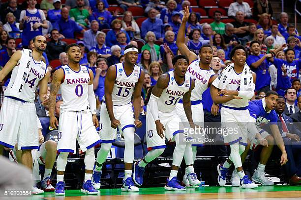 The Kansas Jayhawks bench reacts to a play late in the second half against the Austin Peay Governors during the first round of the 2016 NCAA Men's...