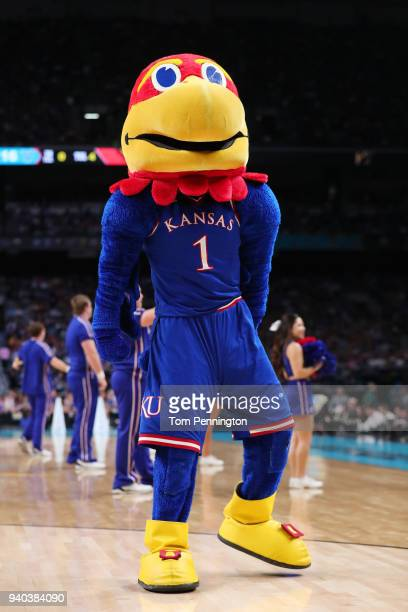 The Kansas Jayhawks mascot Big Jay performs in the first half during the 2018 NCAA Men's Final Four Semifinal between the Villanova Wildcats and the...