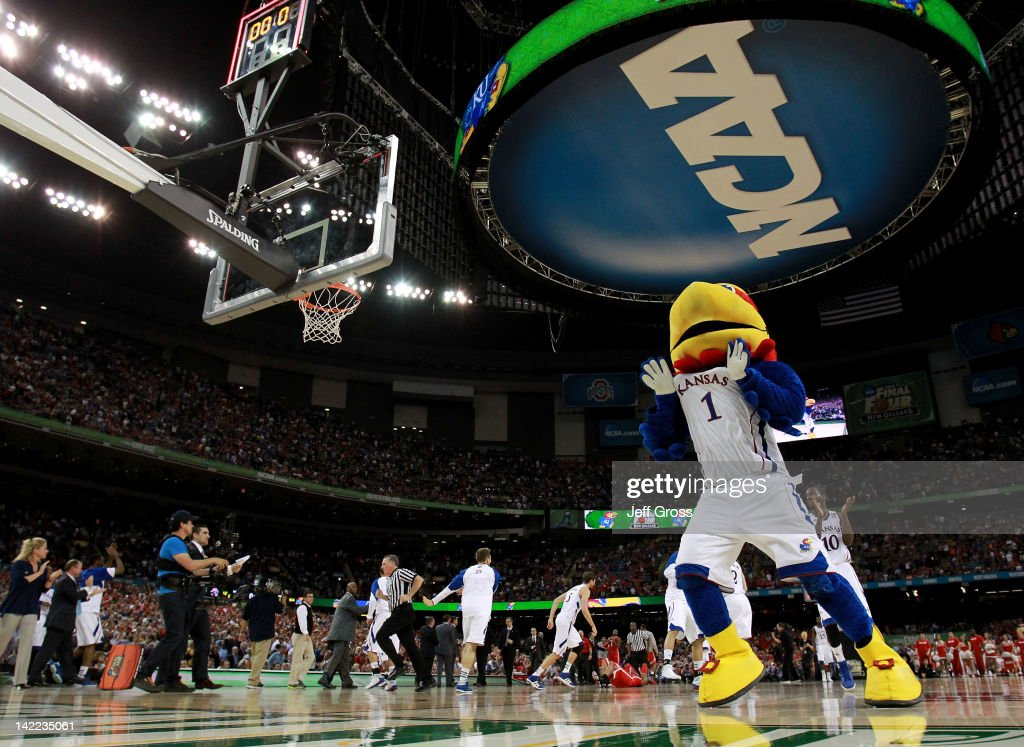 The Kansas Jayhawks mascot celebrates the Jayhawks 64-62 victory against the Ohio State Buckeyes during the National Semifinal game of the 2012 NCAA Division I Men's Basketball Championship at the Mercedes-Benz Superdome on March 31, 2012 in New Orleans, Louisiana.