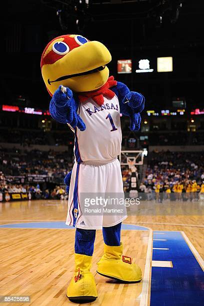 The Kansas Jayhawks mascot during the Phillips 66 Big 12 Men's Basketball Championship Quarterfinals at the Ford Center March 12 2009 in Oklahoma...