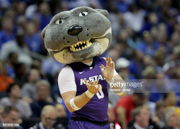 The Kansas State Wildcat smiles for a photo in the second half against the Creighton Bluejays during the first round of the 2018 NCAA Men's...