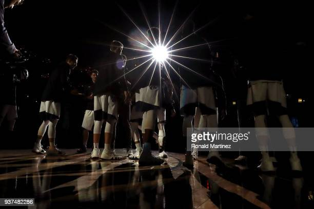 The Kansas State Wildcats are introduced before their game against the Loyola Ramblers during the 2018 NCAA Men's Basketball Tournament South...