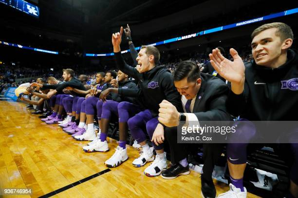 The Kansas State Wildcats bench celebrates against the Kentucky Wildcats in the second half during the 2018 NCAA Men's Basketball Tournament South...