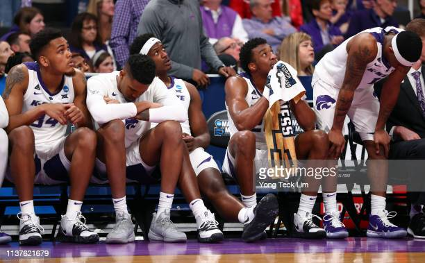 The Kansas State Wildcats bench reacts in the second half of play against the UC Irvine Anteaters during the first round of the 2019 NCAA Men's...