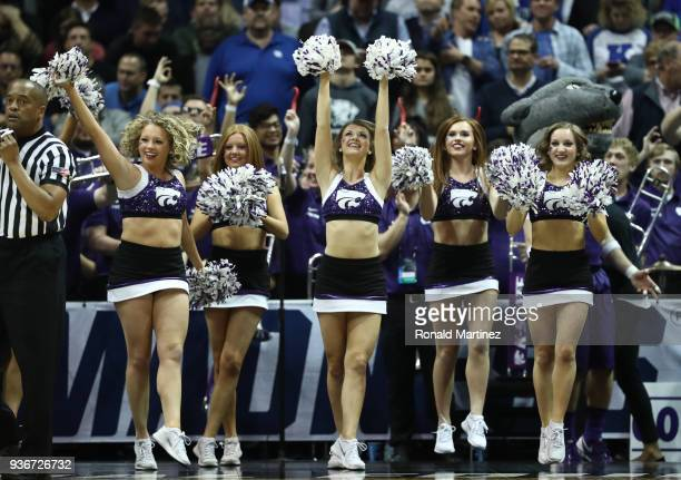 The Kansas State Wildcats cheerleaders perform in the first half during the 2018 NCAA Men's Basketball Tournament South Regional between the Kentucky...