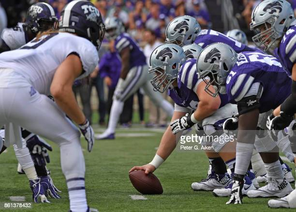 The Kansas State Wildcats get set to snap the ball against the TCU Horned Frogs during the first half on October 14 2017 at Bill Snyder Family...