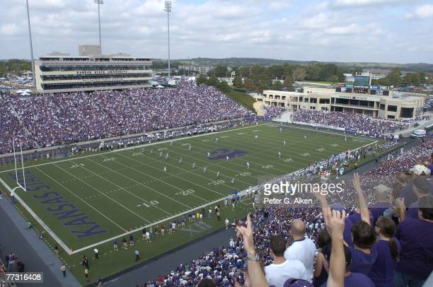 The Kansas State Wildcats kick-off to the Kansas Jayhawks to start the game, during a NCAA football game on October 06, 2007 at Bill Snyder Family...