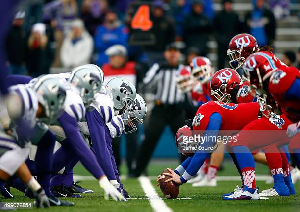 The Kansas State Wildcats line up against the Kansas Jayhawks during the game at Memorial Stadium on November 28 2015 in Lawrence Kansas