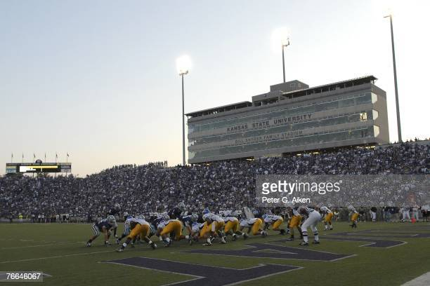 The Kansas State Wildcats line up at the San Jose State Spartans one-yard line during a NCAA football game on September 8, 2007 at Bill Snyder Family...