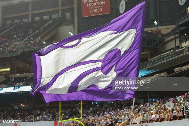 The Kansas State Wildcats logo flag during the Cactus Bowl college football game between the Kansas State Wildcats and the UCLA Bruins on December 26...