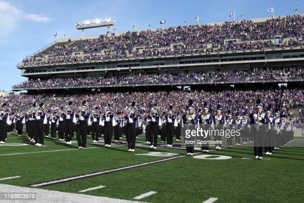 The Kansas State Wildcats marching band performs before a Big 12 football game between the West Virginia Mountaineers and Kansas State Wildcats on...