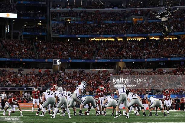The Kansas State Wildcats on offense against the Arkansas Razorbacks during the Cotton Bowl at Cowboys Stadium on January 6 2012 in Arlington Texas
