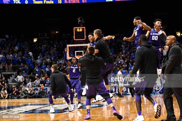 The Kansas State Wildcats team celebrates their win over Kentucky Wildcats during the third round of the 2018 NCAA Photos via Getty Images Men's...