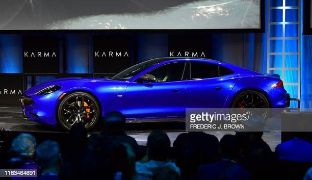 The Karma Revero GTS vehicle unveiled and on display at the Automobility LA Technology Pavilion on November 19, 2019 in Los Angeles, California, on...