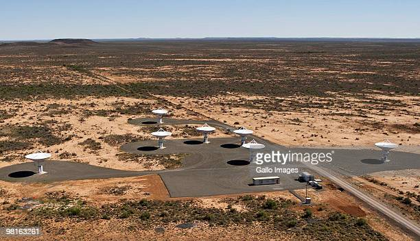 The Karoo Array Telescope construction site, part of the MeerKAT Project, is pictured from the air near Carnarvon in the Northern Cape, South Africa....