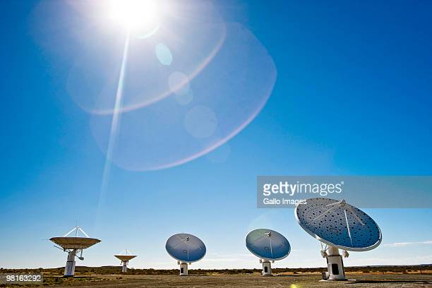 The Karoo Array Telescope construction site, part of the MeerKAT Project, is pictured near Carnarvon in the Northern Cape, South Africa. The combined...