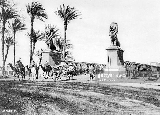 The KasrElNile Bridge Cairo Egypt c1920s Plate taken From In the Land of the Pharaohs published by Lehnert Landrock