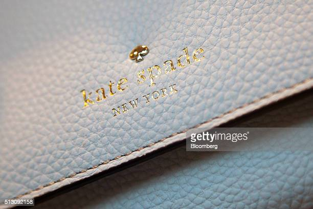 The Kate Spade Co logo is seen on a handbag is displayed at a store in New York US on Sunday Feb 28 2016 Kate Spade Co is scheduled to release...