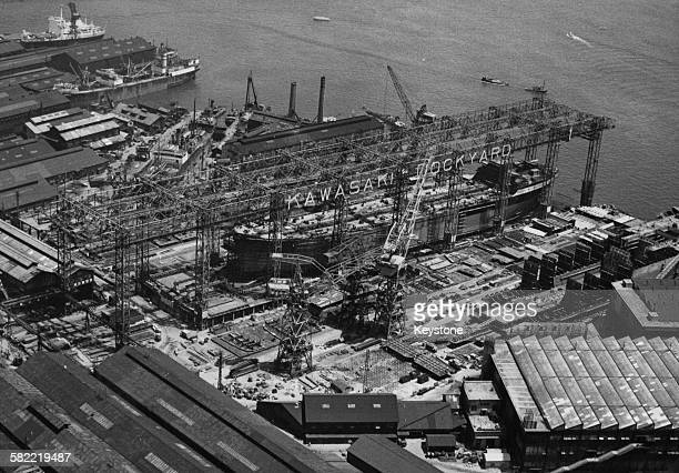 The Kawasaki Dockyard in Osaka Japan later owned by the Kawasaki Shipbuilding Corporation 1956