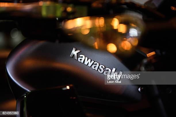 The Kawasaki logo is seen on a motorbike at the 'Motorcycle Live' show on November 19 2016 in Birmingham England The show features the latest bikes...