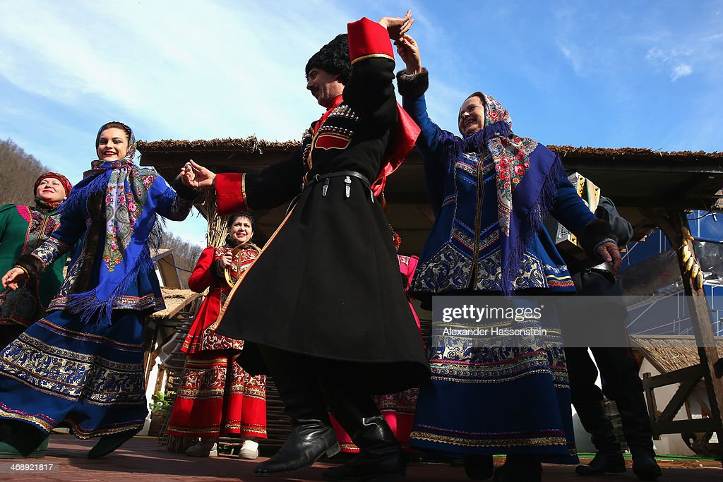 The 'Kazak Singers' dressed in their traditional Russian outfit perform at Rosa Khutor Mountain Cluster village on day five of the Sochi 2014 Winter Olymipcs on February 12, 2014 in Sochi, Russia.