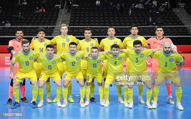 The Kazakhstan team line up prior to the FIFA Futsal World Cup 2021 Round of 16 match between Kazakhstan and Thailand at Kaunas Arena on September...