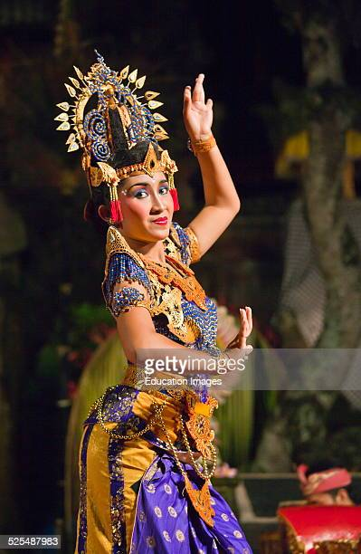 The Kebyar Duduk Dance Is Performed By The Cenik Wayah Gamelan Dance Group At Pura Taman Saraswati Ubud Bali Indonesia