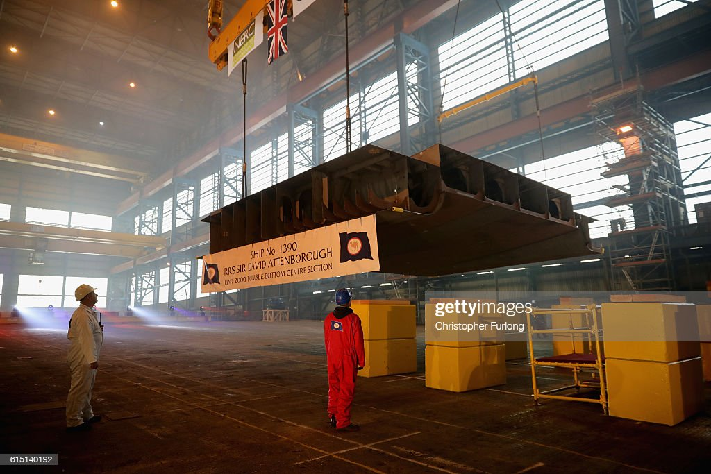 The keel of the new polar research ship for Britain, RRS Sir David Attenborough is laid at Cammell Laird shipyard, after Sir David Attenborough initiated the lifting on October 17, 2016 in Birkenhead, England. Sir David Attenborough initiated the lifting of the first block of the ship named after him. The RRS Sir David Attenborough is being built by Cammell Laird and operated by British Antarctic Survey. The new research ship will be one of the most advanced in the world. The keel-laying ceremony is a maritime tradition said to bring luck to the ship during her construction and to the captain and crew during her life.