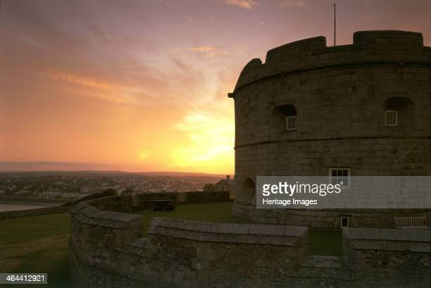 The keep of Pendennis Castle Cornwall at sunset 1997 The original castle consisted of the keep seen here against the sunset which provided a series...