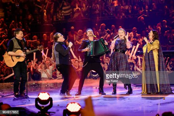 The Kelly family and German singer and presenter Florian Silbereisen perform at the 'Schlagerchampions Das grosse Fest der Besten' TV Show at...