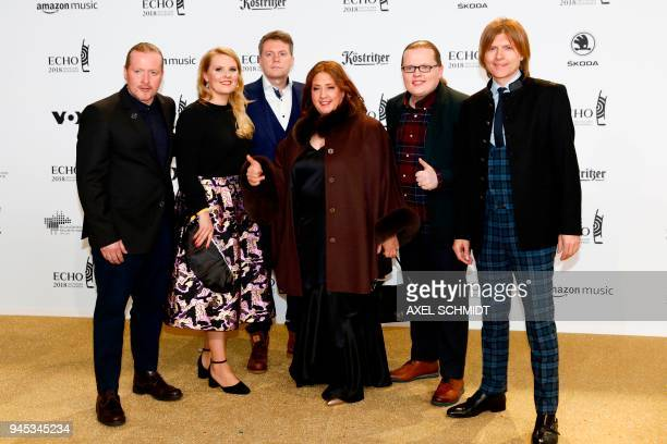 The Kelly Family pose during a photocall upon arrival for the 2018 Echo Music Awards ceremony on April 12 2018 in Berlin / AFP PHOTO / AXEL SCHMIDT