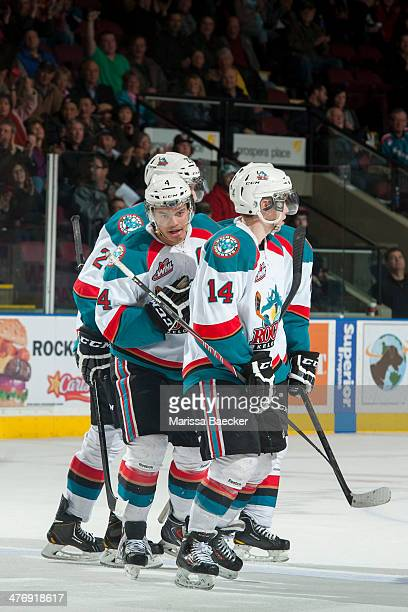 The Kelowna Rockets celebrate the third goal of a record breaking game in the team franchise history on March 5, 2014 at Prospera Place in Kelowna,...