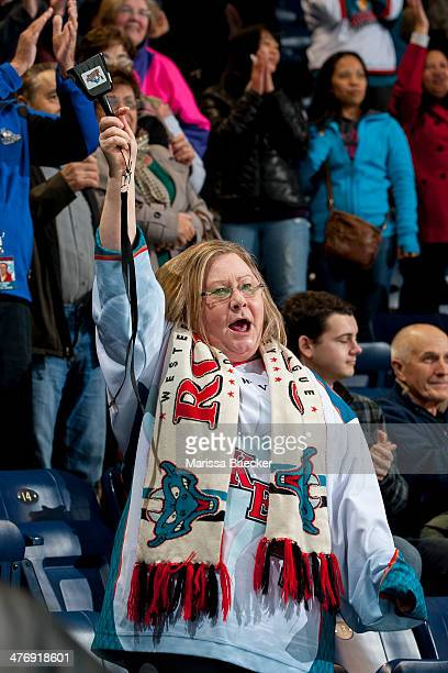 The Kelowna Rockets fans celebrate the 53 season win against the Spokane Chiefs, a record breaking game in the team franchise history, on March 5,...