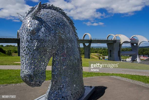 The Kelpies horsehead sculptures at the Falkirk Wheel rotating boat lift in Stirlingshire Scotland UK