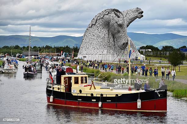 The Kelpies sculptures are officially opened by Princess Anne Princess Royal and a flotilla of boats on July 8 2015 in Falkirk Scotland Sculptor Andy...