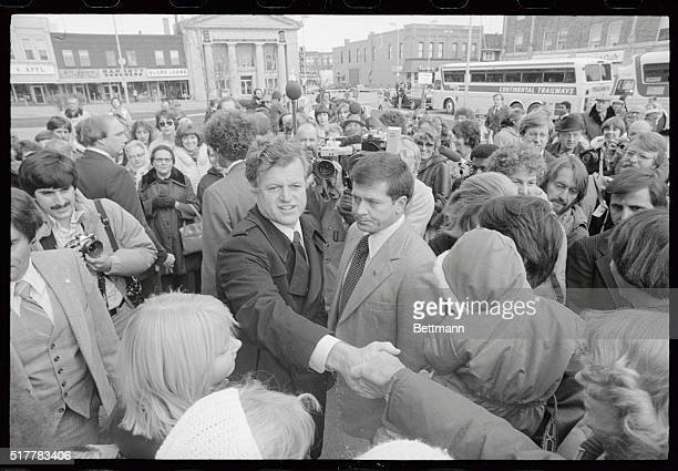 The Kennedy clan--part of it--arrives in the town square of Newton, Iowa, as Democratic presidential candidate Senator Edward Kennedy takes his...