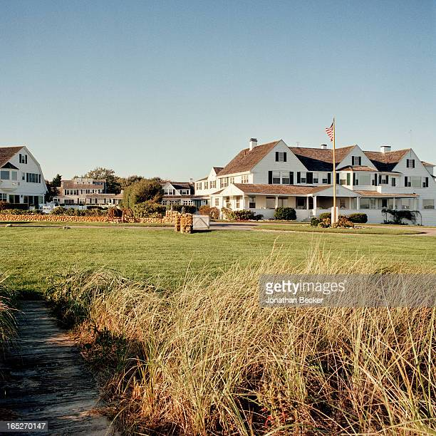 The Kennedy compound is photographed for Town Country Magazine on September 2223 2012 in Hyannis Port Massachusetts The house behind the flag once...