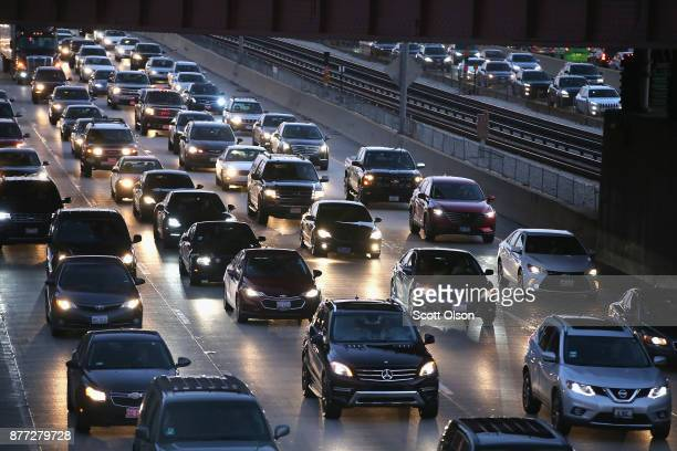 The Kennedy Expressway is clogged with cars as rushhour commuters and Thanksgiving holiday travelers try to make their way through the city on...