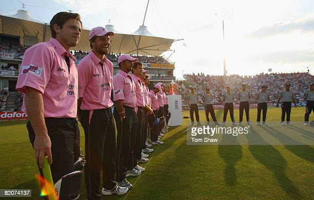 The Kent and Middlesex teams enter the field for the line up during the Twenty20 Cup Final match between Kent and Middlesex at the Rosebowl on July...
