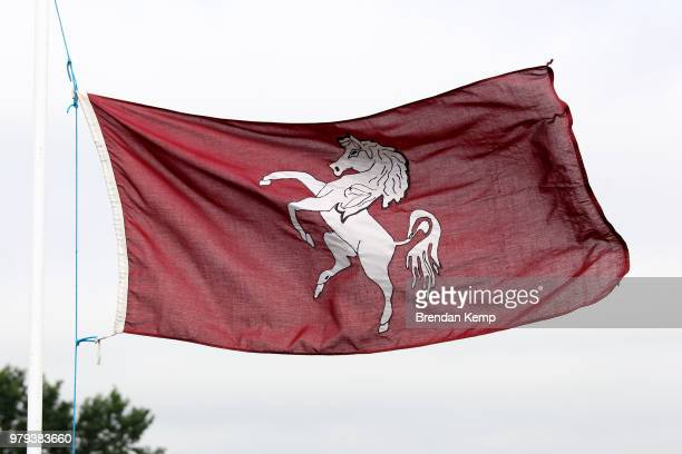 The Kent Cricket Club flag flies during day one of the Specsavers County Championship Division Two match between Kent and Warwickshire at The Nevill...