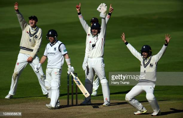The Kent slip corden unsuccessfully appeal for the wicket of Tim Ambrose of Warwickshire during Day Two of the Specsavers County Championship...