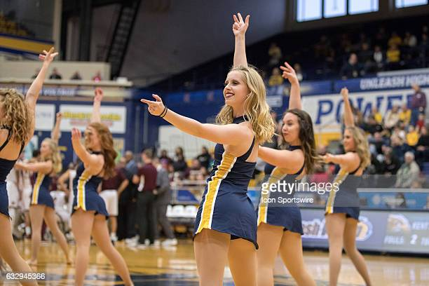 The Kent State Golden Flashes Dance Team performs during the second half of the college men's basketball game between the Central Michigan Chippewas...