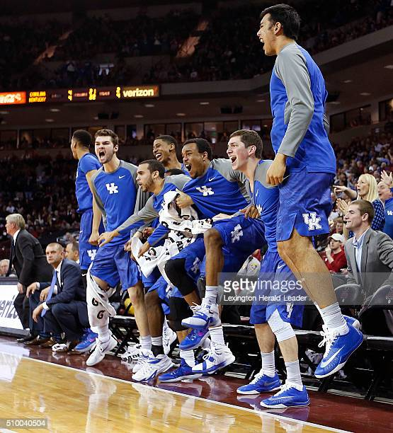 The Kentucky bench reacts to a Marcus Lee dunk off an assist from Tyler Ulis in the second half against South Carolina at Colonial Life Arena in...