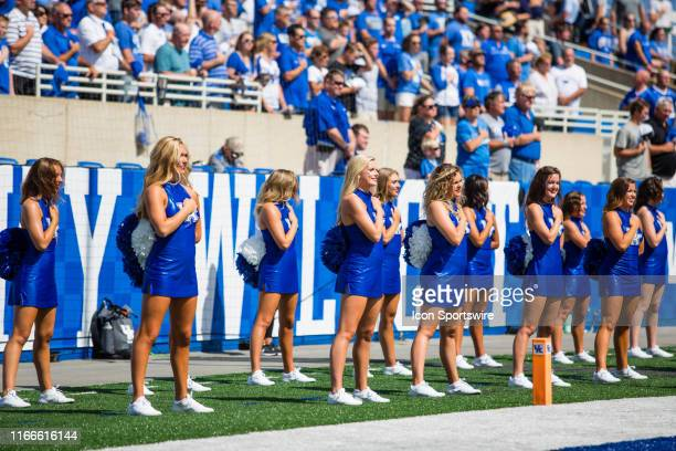 The Kentucky cheerleader team during a college football game between the Toledo Rockets and the Kentucky Wildcats on August 31 at Kroger Field in...