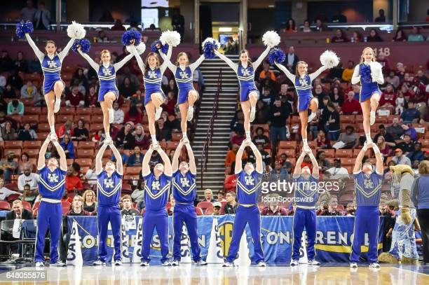 The Kentucky cheerleaders during 2nd half action in the SEC Women's Championship semi final game between the South Carolina Gamecocks and the...