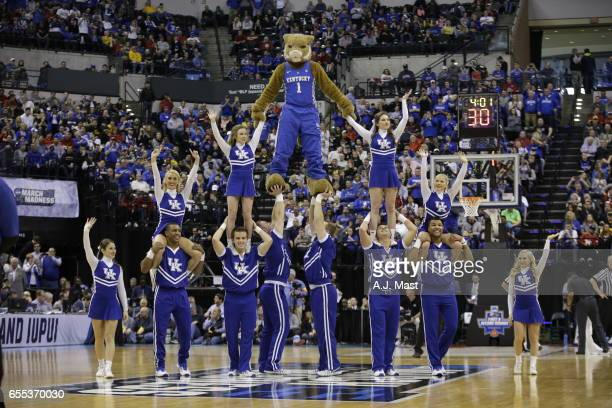 The Kentucky cheerleaders while playing Wichita State University during the 2017 NCAA Photos via Getty Images Men's Basketball Tournament held at...