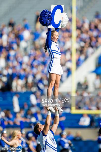 The Kentucky Cheerleading Squad performing during a regular season college football game between the Eastern Michigan Eagles and the Kentucky...