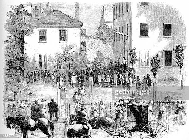 'The Kentucky Lynching' c1860 A victim is hanged from the courthouse Illustration from Adventures of America 18571900 by John A Kouwenhoven published...