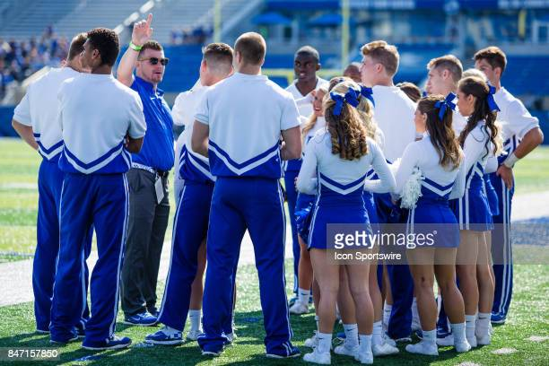 The Kentucky PomPom squad gets direction before a regular season college football game between the Eastern Kentucky Colonels and the Kentucky...